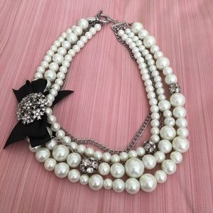 Ann Taylor Pearl Mixed Media Statement Necklace